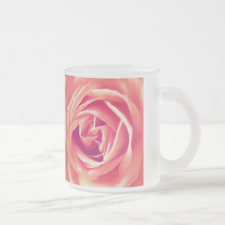 Coral rose print frosted glass coffee mug