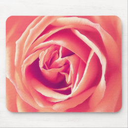 Coral rose print mouse pad
