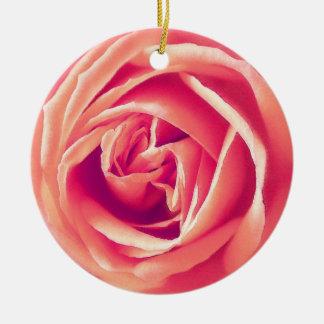 Coral rose print christmas ornaments