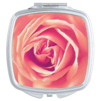 Coral rose print vanity mirror