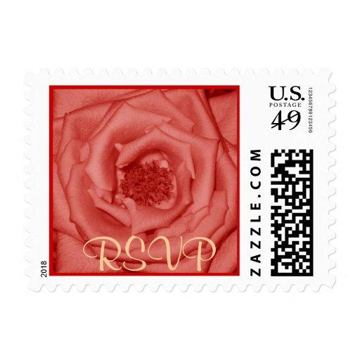 Coral Rose RSVP Stamp