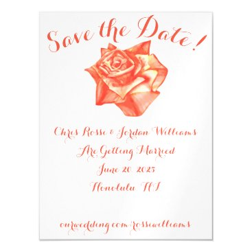 Beach Themed Coral Rose Save the Date Magnet Wedding Elegant