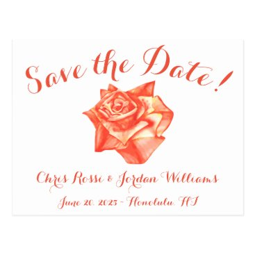 Beach Themed Coral Rose Save the Date Wedding Elegant Simple Postcard
