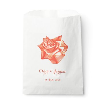 Beach Themed Coral Rose Simple Elegant Summer Wedding Favor Bag