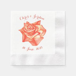 Coral Rose Simple Elegant Summer Wedding Paper Napkin