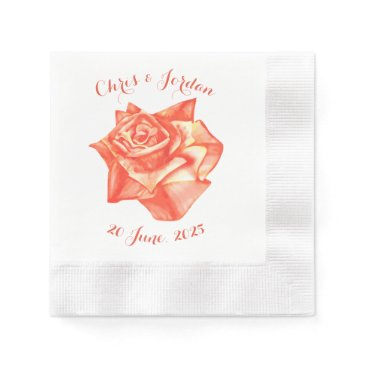 Beach Themed Coral Rose Simple Elegant Summer Wedding Paper Napkin