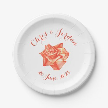 Beach Themed Coral Rose Simple Elegant Summer Wedding Paper Plate