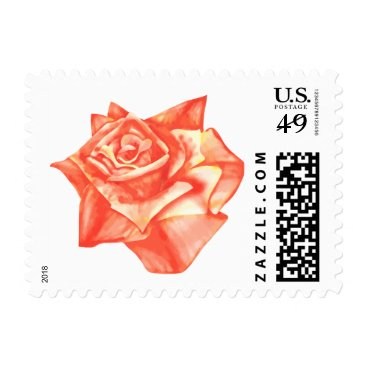 Beach Themed Coral Rose Simple Elegant Summer Wedding Postage