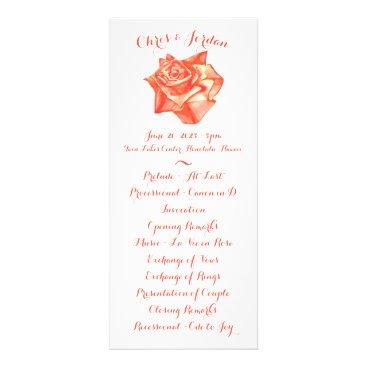 Beach Themed Coral Rose Simple Elegant Wedding Ceremony Program