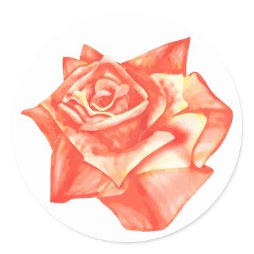 Beach Themed Coral Rose Simple Elegant Wedding Envelope Seal