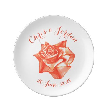 Beach Themed Coral Rose Simple Elegant Wedding Gift for Couple Plate