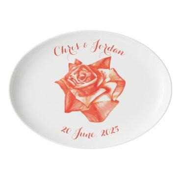 Beach Themed Coral Rose Simple Elegant Wedding Gift for Couple Porcelain Serving Platter