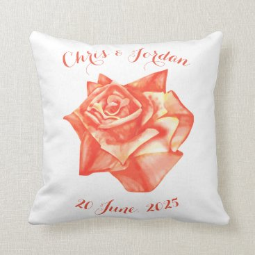 Beach Themed Coral Rose Simple Elegant Wedding Gift for Couple Throw Pillow