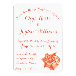 Coral Rose Two-Sided Text Simple Elegant Wedding Card