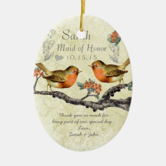 Coral Rose Vintage Bird Maid of Honor Ornaments