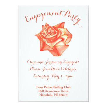 Beach Themed Coral Rose Wedding Engagement Party Invitation
