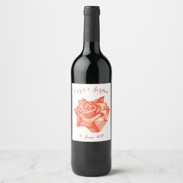 Beach Themed Coral Rose Wedding Favor Gift Simple Elegant Wine Label