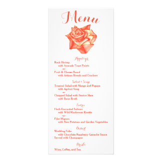 Coral Rose Wedding Menu Reception Schedule Card