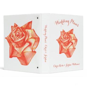 Beach Themed Coral Rose Wedding Planner Organizer Elegant Fun Binder