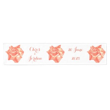 Beach Themed Coral Rose Wedding Reception Decoration Elegant Short Table Runner