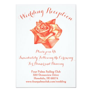 Beach Themed Coral Rose Wedding Reception Invitation Map Card