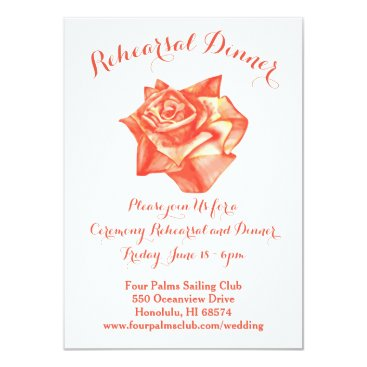 Beach Themed Coral Rose Wedding Rehearsal Dinner Invitation Map