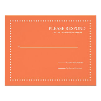 Coral Rose Wedding Response Card w/ Pearl Border Custom Invites
