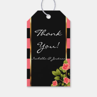 Coral Roses on Coral and Black Stripes Gift Tags