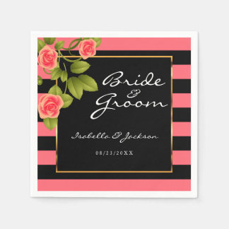 Coral Roses on Coral and Black Stripes Napkin