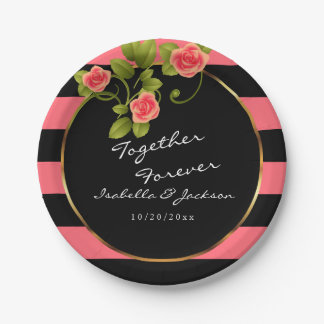 Coral Roses on Coral and Black Stripes Paper Plate