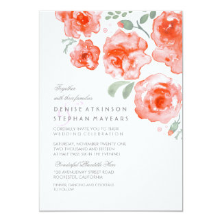 Coral Roses Wedding - Watercolor Invitations