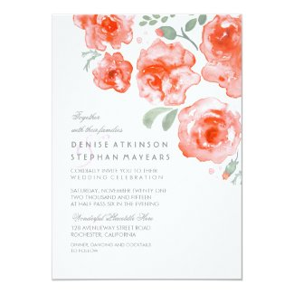 Coral Roses Wedding - Watercolor Invitations