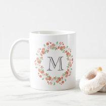 coral roses wreath monogram coffee mug