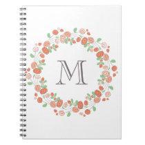 coral roses wreath monogram notebook