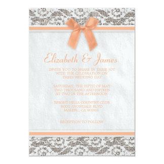 "Coral Rustic Burlap Wedding Invitations 5"" X 7"" Invitation Card"