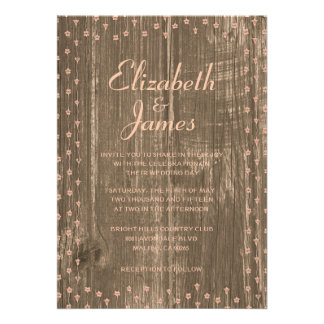 Coral Rustic Country Barn Wood Wedding Invitations Invitations