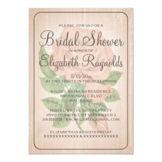 Coral Rustic Floral Bridal Shower Invitations Personalized Announcements