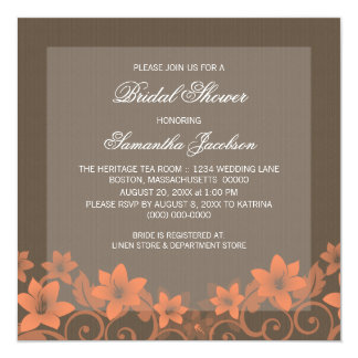 Coral Rustic Floral Bridal Shower Invite