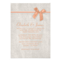 Coral Rustic Floral/Flower Wedding Invitations Personalized Invite