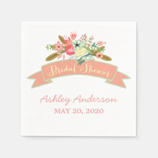 Coral Rustic Flowers Bridal Shower Paper Napkins