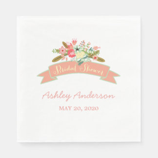 Coral Rustic Flowers Bridal Shower Paper Napkins Standard Luncheon Napkin