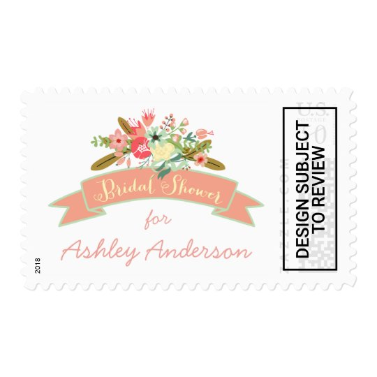 coral rustic flowers bridal shower postage stamp