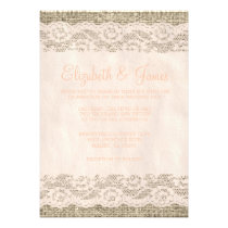 Coral Rustic Lace & Barn Wood Wedding Invitations Invitation