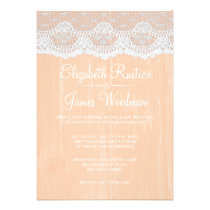 Coral Rustic Lace & Barn Wood Wedding Invitations Personalized Announcements