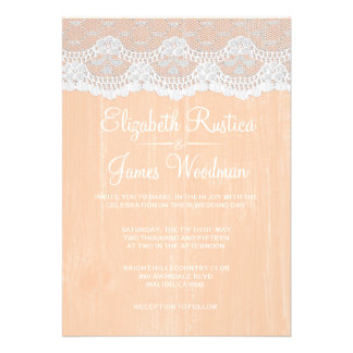 Coral Rustic Lace Barn Wood Wedding Invitations Personalized Announcements