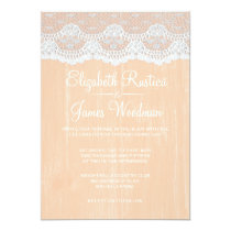 Coral Rustic Lace & Barn Wood Wedding Invitations