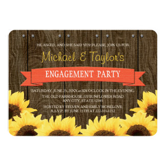 CORAL RUSTIC SUNFLOWER ENGAGEMENT PARTY 5X7 PAPER INVITATION CARD