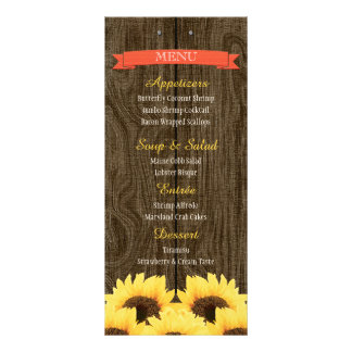 CORAL RUSTIC SUNFLOWER MENU CARD