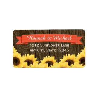 CORAL RUSTIC SUNFLOWER RETURN ADDRESS LABEL