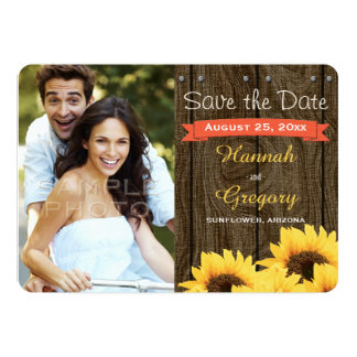 "CORAL RUSTIC SUNFLOWER SAVE THE DATE CARD 5"" X 7"" INVITATION CARD"
